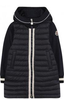 Стеганое пуховое пальто с капюшоном Moncler Enfant