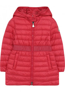 Стеганое пуховое пальто с капюшоном и эластичной вставкой на поясе Moncler Enfant