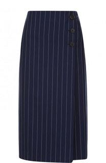 Шерстяная юбка-миди в полоску Ralph Lauren