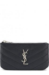 Кожаный футляр для ключей с логотипом бренда Saint Laurent