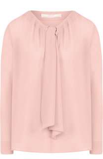 Однотонное шелковая блуза прямого кроя BOSS