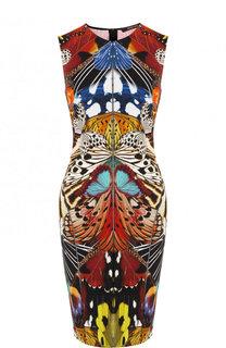 Платье-футляр из вискозы с принтом Roberto Cavalli