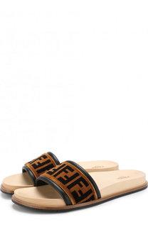 Текстильные шлепанцы с логотипом бренда Fendi