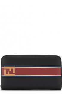Кожаное портмоне на молнии с принтом Fendi