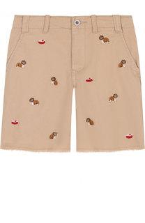 Хлопковые шорты с вышивкой и необработанным краем Polo Ralph Lauren