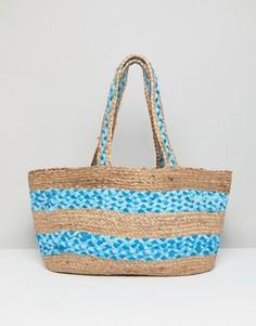 Структурированная пляжная сумка ручного плетения из джута America & Beyond - Мульти