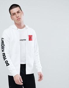 Белый худи на молнии с принтом на рукавах Nike Jordan AJ3 943924-100 - Белый