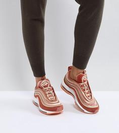 Бархатные кроссовки персикового цвета Nike Air Max 97 Ultra 17 - Оранжевый