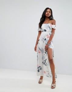 Платье макси с открытыми плечами и цветочным принтом Parisian - Белый
