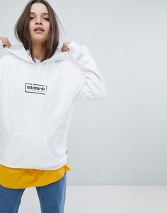 Худи белого цвета с логотипом по центру adidas - Белый
