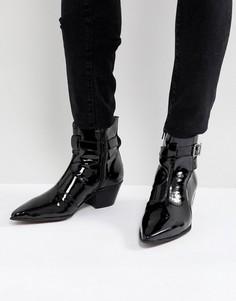 Черные кожаные лакированные ботинки челси на кубинском каблуке ASOS - Черный