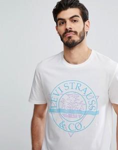 Белая футболка с выбеленным логотипом Levis - Белый