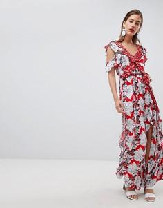 Платье макси с цветочным принтом и оборками River Island - Красный