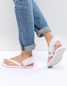 Розовые сандалии с пушистым задником UGG LaaLaa - Розовый