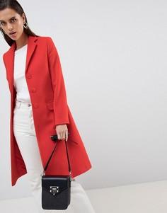 Удлиненное пальто с добавлением шерсти и кашемира Helene Berman - Оранжевый