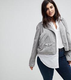Байкерская куртка из искусственной замши ASOS CURVE - Серый