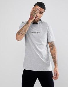 Серая футболка с воротом в рубчик Globe New Yorker - Серый