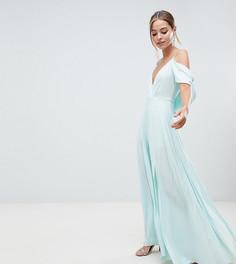 Платье макси с открытыми плечами и драпированным вырезом на спине ASOS DESIGN Petite - Мульти