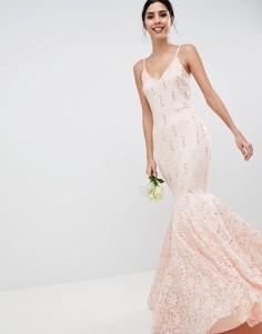 Кружевное платье макси с пайетками Club L - Розовый