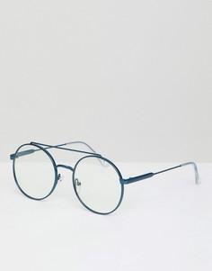 Круглые очки с прозрачными стеклами Jeepers Peepers - Синий