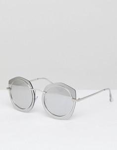 Солнцезащитные очки в круглой массивной оправе Jeepers Peepers - Серебряный