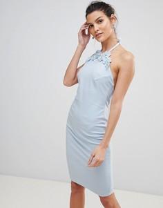 Платье-халтер миди с цветами City Goddess - Синий