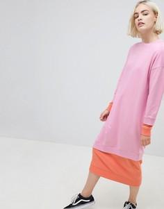 Двухслойное трикотажное платье колор блок ASOS DESIGN - Мульти