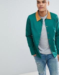 Куртка бутылочно-зеленого цвета с вельветовым воротником boohooMAN Trucker - Зеленый