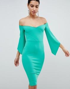 Платье-футляр со спущенными плечами и рукавами 3/4 Club L - Зеленый