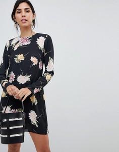 Платье с длинными рукавами и цветочным принтом Oh My Love - Черный