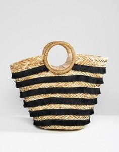 Соломенная пляжная сумка-тоут River Island - Черный