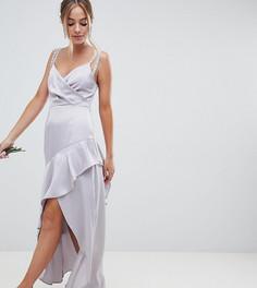 Платье макси с искусственным жемчугом на бретельках и оборкой на юбке ASOS DESIGN Petite Bridesmaid - Серый