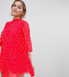 Платье мини с плиссировкой и принтом ASOS DESIGN Petite - Красный
