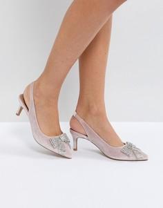 Туфли на каблуке-рюмочке с ремешком через пятку и отделкой ASOS SUSANNA - Розовый