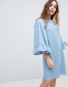 Джинсовое свободное платье с оборками на рукавах Only - Синий