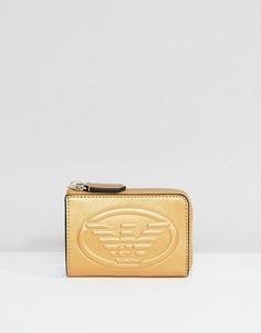 Кожаный кошелек для монет с тиснением логотипа Emporio Armani - Золотой
