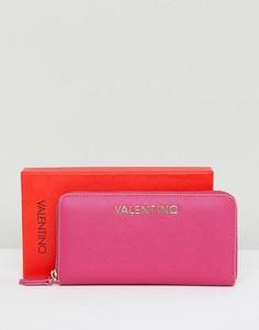Розовый кошелек на молнии Valentino by Mario Valentino - Розовый
