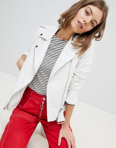 Байкерская куртка из искусственной кожи с пряжками Vero Moda - Белый