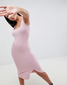 Облегающее платье миди с квадратным вырезом ASOS DESIGN - Розовый
