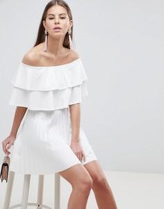 Плиссированное платье мини с двумя оборками ASOS DESIGN - Белый