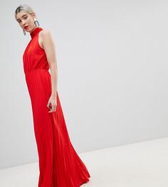 Платье макси с высоким воротом и плиссировкой Boohoo - Красный