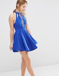 Платье мини со шнуровкой и короткой расклешенной юбкой Ginger Fizz - Синий