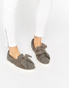 Туфли-слипоны с узлом спереди New Look - Серый