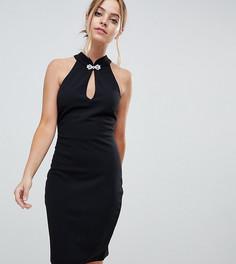 Платье мини с открытой спиной и кружевом City Goddess Petite - Черный
