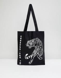 Чернaя сумка-тоут с тигром и надписью на японском языке ASOS - Черный