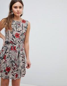 Платье со складками и цветочным принтом Yumi - Мульти