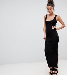 Облегающее платье макси с квадратным вырезом ASOS DESIGN Tall - Черный