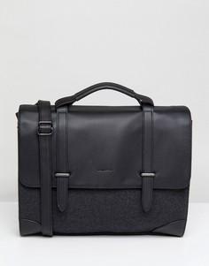 Серый портфель из мельтона и искусственной кожи с внутренним отделением для  ноутбука ASOS DESIGN - Черный 37ddc30182f