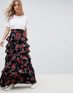Ярусная юбка макси с присборенной талией ASOS DESIGN - Мульти