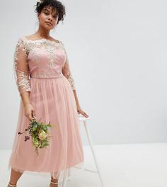 Платье миди для выпускного с рукавами 3/4, кружевом и юбкой из тюля Chi Chi London Plus - Розовый